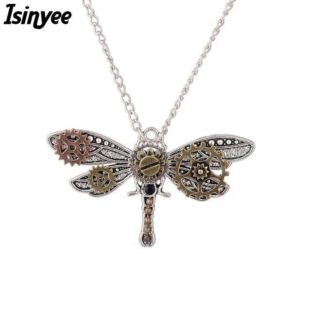 ISINYEE стильная Стрекоза насекомых подвесная бисера Стимпанк Шестерни ожерелье для женщин винтажные серебряные массивные ювелирные изделия