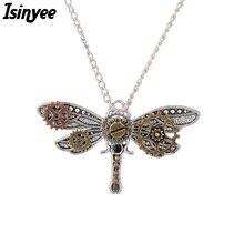 2a213defb75f ISINYEE moda libélula insectos colgante con cuentas cadena Steampunk  engranajes Collar para mujeres Vintage plata declaración jo.