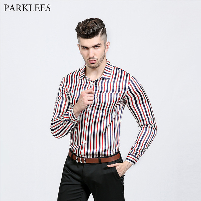 Classic Vertical Striped Shirt Men 2018 Brand New Slim Fit Long Sleeve  Dress Shirts Men Nightclub 9d161466b