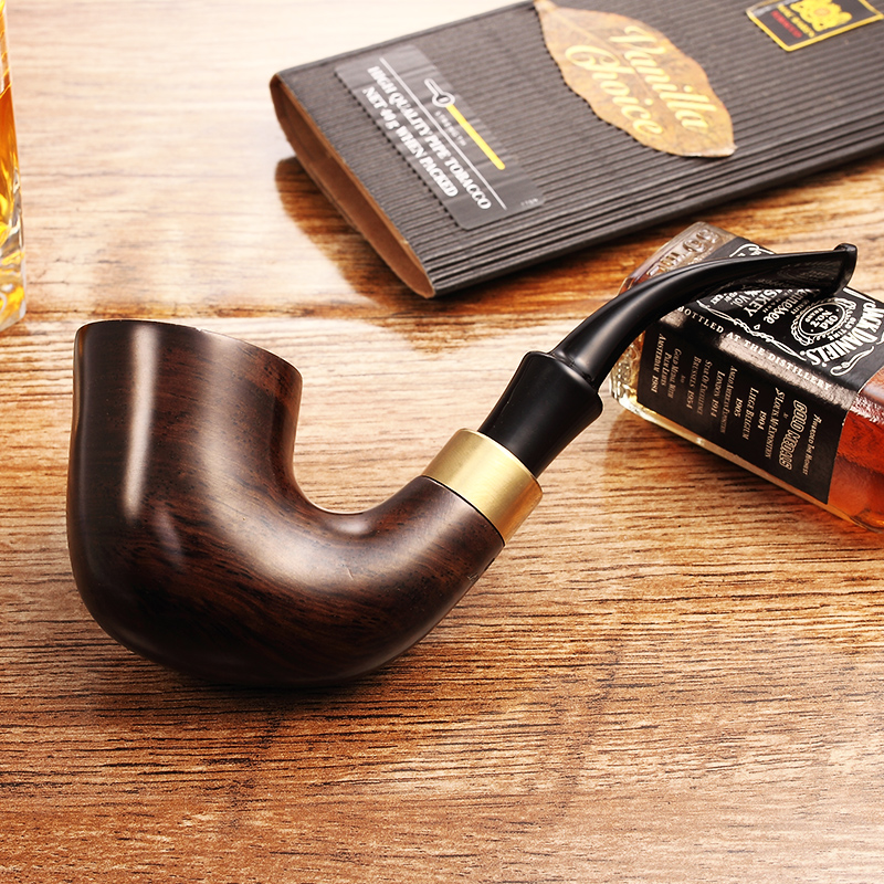2018 Ciga New High-grade ADOUS Smoking Set Ebony Wood  Handmade Black Smoking Pipes Tobacco Pipe 9mm Filter Wooden Pipe AH923