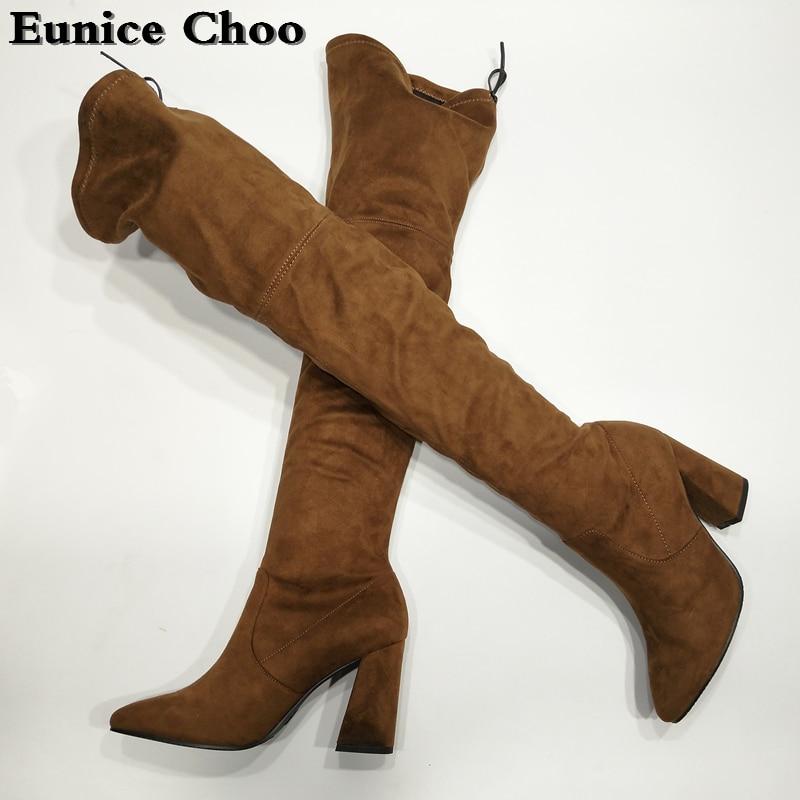 b Slip c Troupeau Femmes Botas e Femme d Bottes On the Cuisse genou Chunky Haute Choo Chaussures A Stretch 2018 Talons Over Eunice Printemps wZlOXiTPku