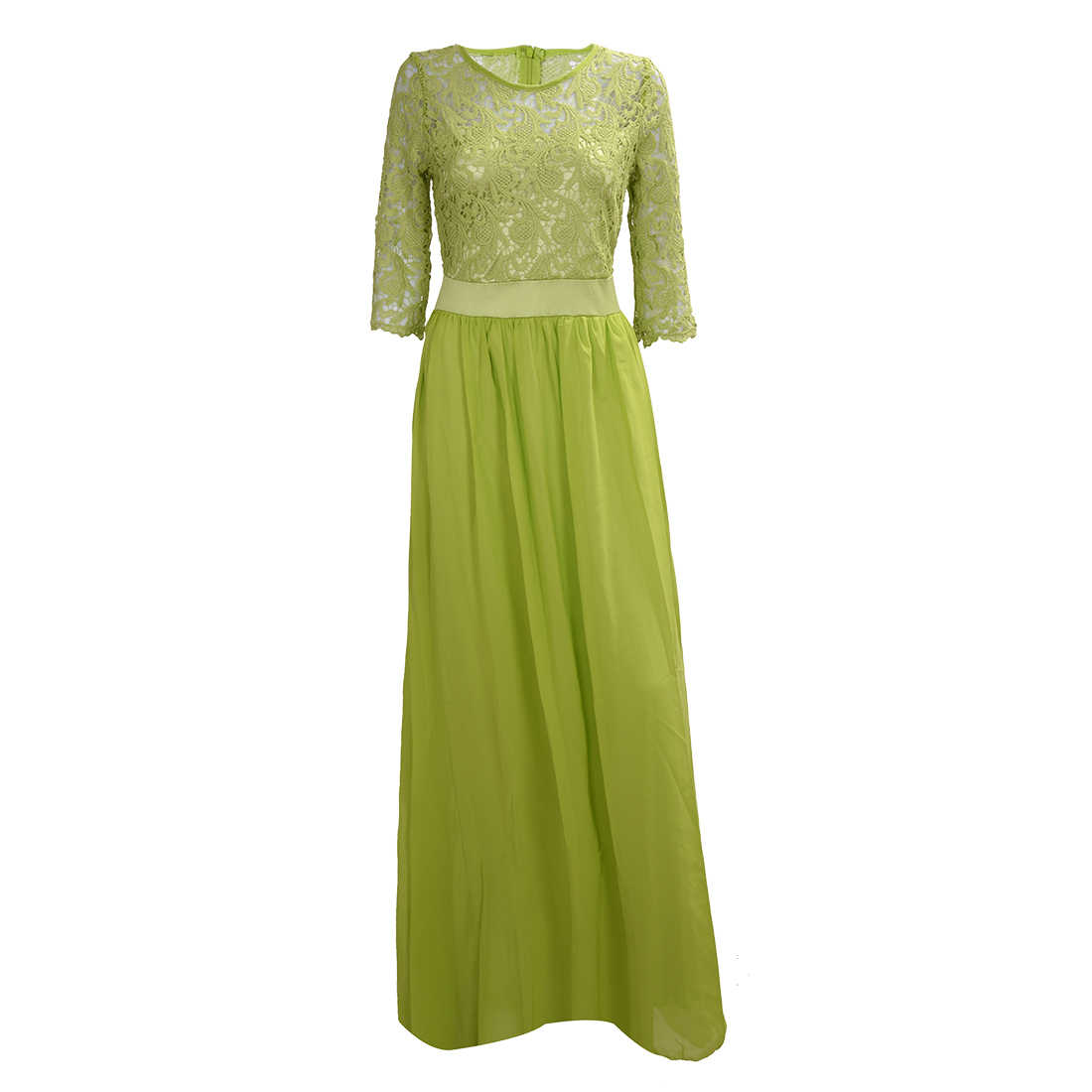 ... TFGS 2016 Plus Size Women Wedding Party Long Dress Mid-Sleeve Chiffon  Lace Dresses Maxi ... e568faf380bc