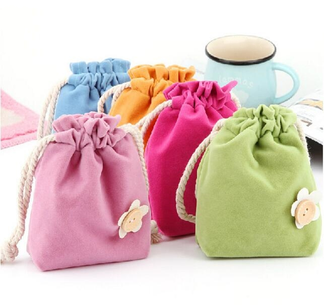 Flowers Coin Purse Drawstring HandBag Pocket Candy Color Small Debris Consolidation Pack ...