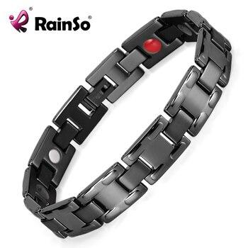 Men Charm Black Titanium Bracelet with 4 Elements Health Care Magnetic Bracelet  High Polished 8.5'' OTB-1552BK 1