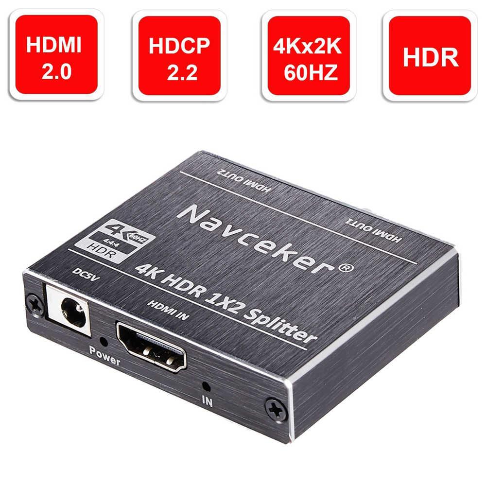 Navceker HDR 4K HDMI 2.0 Bộ Chia 1X2 Hỗ Trợ HDCP 2.2 3D Bộ Chia HDMI 2.0 4K 1 đầu Vào 2 Đầu Ra Hộp Công Tắc Cho Blu-ray DVD HDTV