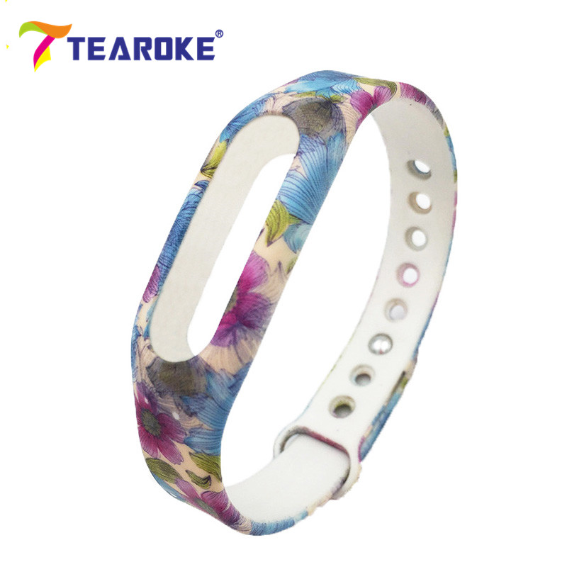 купить On Sale! TEAROKE Flower Printing Silicone Soft Watchband for Xiaomi 1 MiBand Mi Band Men Replacement Bracelet Strap High Quality недорого