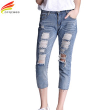 5XL Capris Boyfriend Jeans For Women 2017 Summer Vintage Washed Denim Pants With Hole Plus Size Loose Calf-Lenth Jeans Trousers