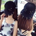 2016 New Fashion Punk Rock Style Women Pin Metal Ring Baseball Cap Hip Hop Hats Black Snapback Caps Tide HipHop Cap Men Women