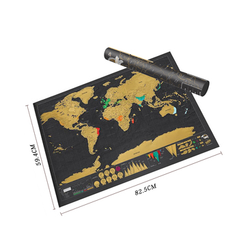 Scratch Map Scratch Off World Travel Map Poster Copper Foil Sticker Personalized Journal Log Big Size with Cylinder Packing 88 x 52cm scratch map travel scratch off map personalized world map poster traveler vacation log wall sticker home decoration