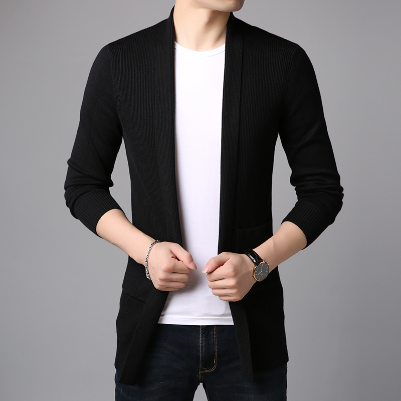 Image 3 - 2020 New Fashion Brand Sweater For Mens Cardigan Long Slim Fit  Jumpers Knitred Overcoat Autumn Korean Style Casual Men  ClothesCardigans