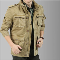 100 Cotton Jacket For Men Long Parkas Casual Outerwear Military Coat Men Winter The Khaki Army