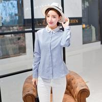 Women Fashion Long Sleeve Tops 2XL 2017 New Spring Cotton Slim Blouse Elegant Embroidery Cute Peter