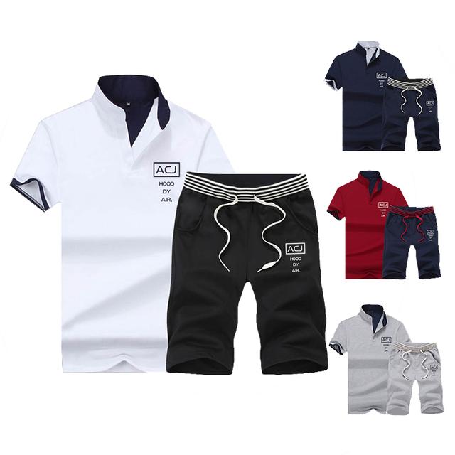 Men Short 2PC Top Set Summer Sportsuits Set 2019 Mens Stand Collar Fashion 2 Pieces T-shirt Shorts Tracksuit Brand Fitness Suits