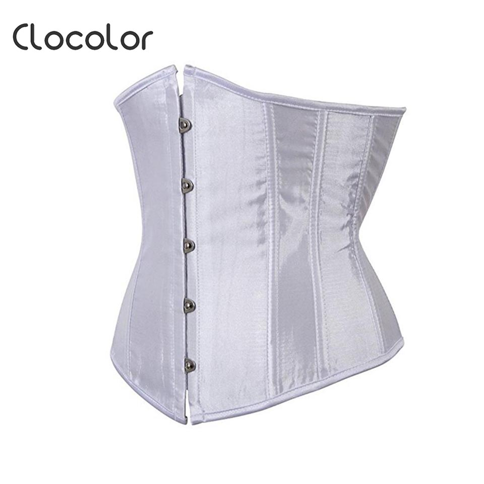 9f56b077bc9 Clocolor Women s Corset Black White Waist Cincher Plain Western Polyester  2019 Modern Fashion Sexy Female Girls Women s Corset-in Bustiers   Corsets  from ...