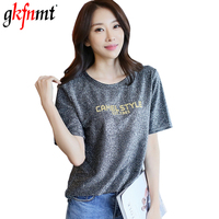 Gkfnmt 2018 Summer T Shirt Women Femme Tops Student Bright Silk T Shirt Woman Solid Letter