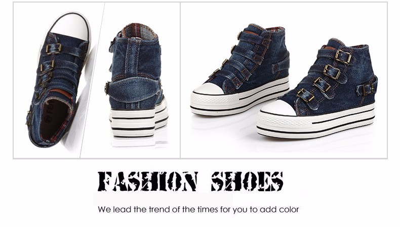 High Top Women Denim Shoes Espadrilles 2016 Fashion Autumn Hide Wedges Canvas Womens Shoes Lace Up Casual Shoes Sapatilha YD135 (18)