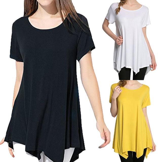 Womens Casual Swing Tunic Tops Loose Fit Comfy Flattering T Shirt blusas camisetas  mujer verano 2018 crop top beach tunic 8387754eca496