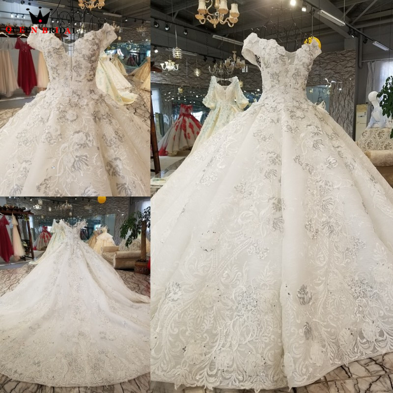 New Arrival vestido de noiva Custom Made Wedding Dresses 2019 QUEEN BRIDAL robe de mariee Long Tail Wedding Gown WD58