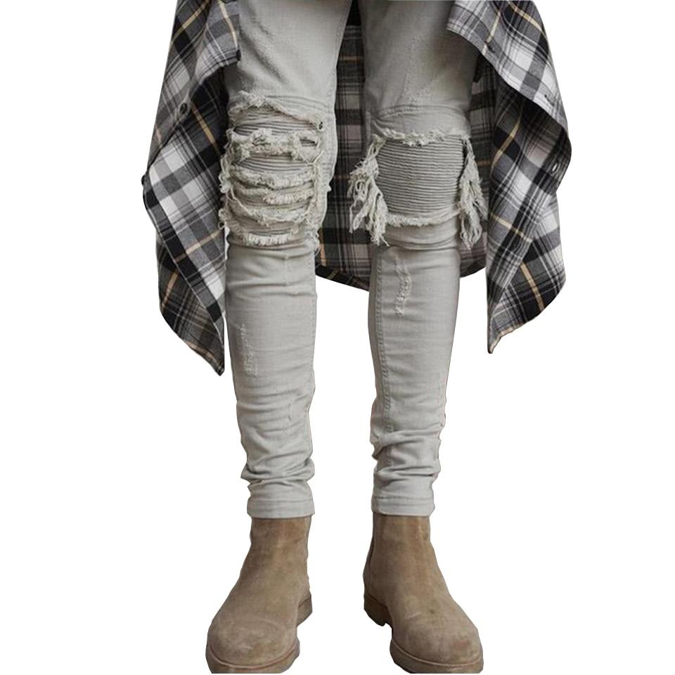 Skinny Jeans Men Ripped White Black Slim