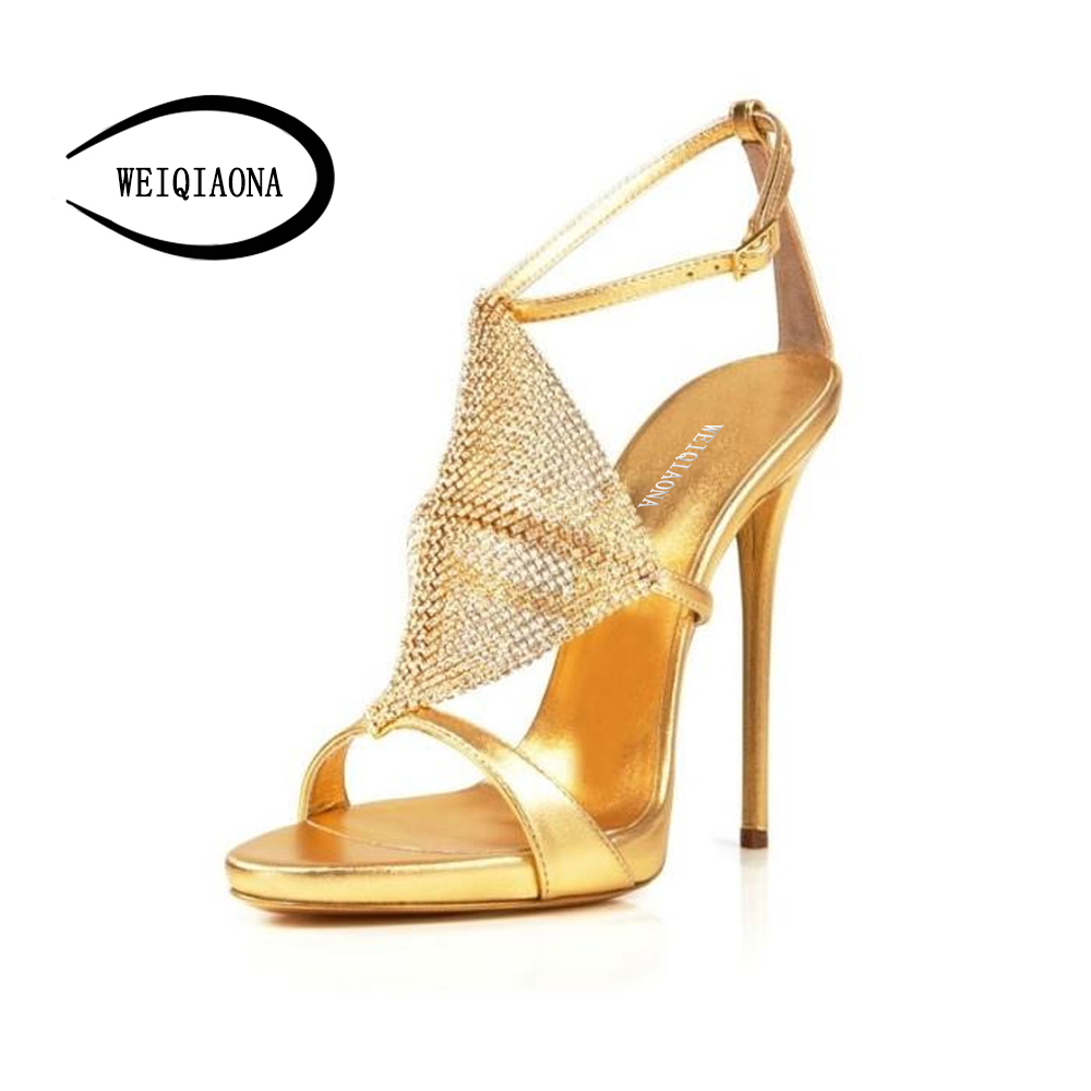 WEIQIAONA Size 33-39 summer women shoes New fashion Gold Ankle strap high heel sandals crystal Sexy open toe Party shoes weiqiaona new big size 33 43 fashion women shoes sexy lace ladies sandals mesh stiletto peep toe hollow high heel shoes woman