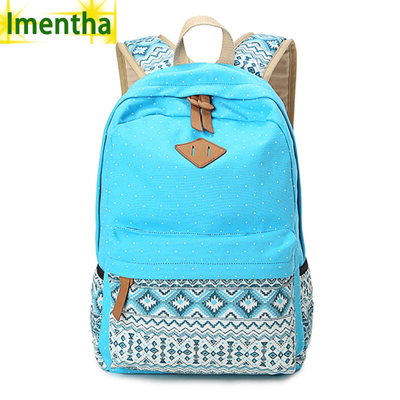 Ladies Backpacking Backpack Bags Laptop Women Dot Printing Canvas Backpack Vintage Middle High Student Schoolbag