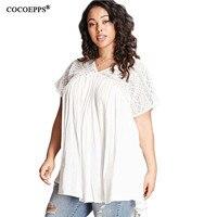 Summer 6XL 5XL Lace Plus Size Women Loose Shirt Floral Print Big Size Femme Shopping 5XL