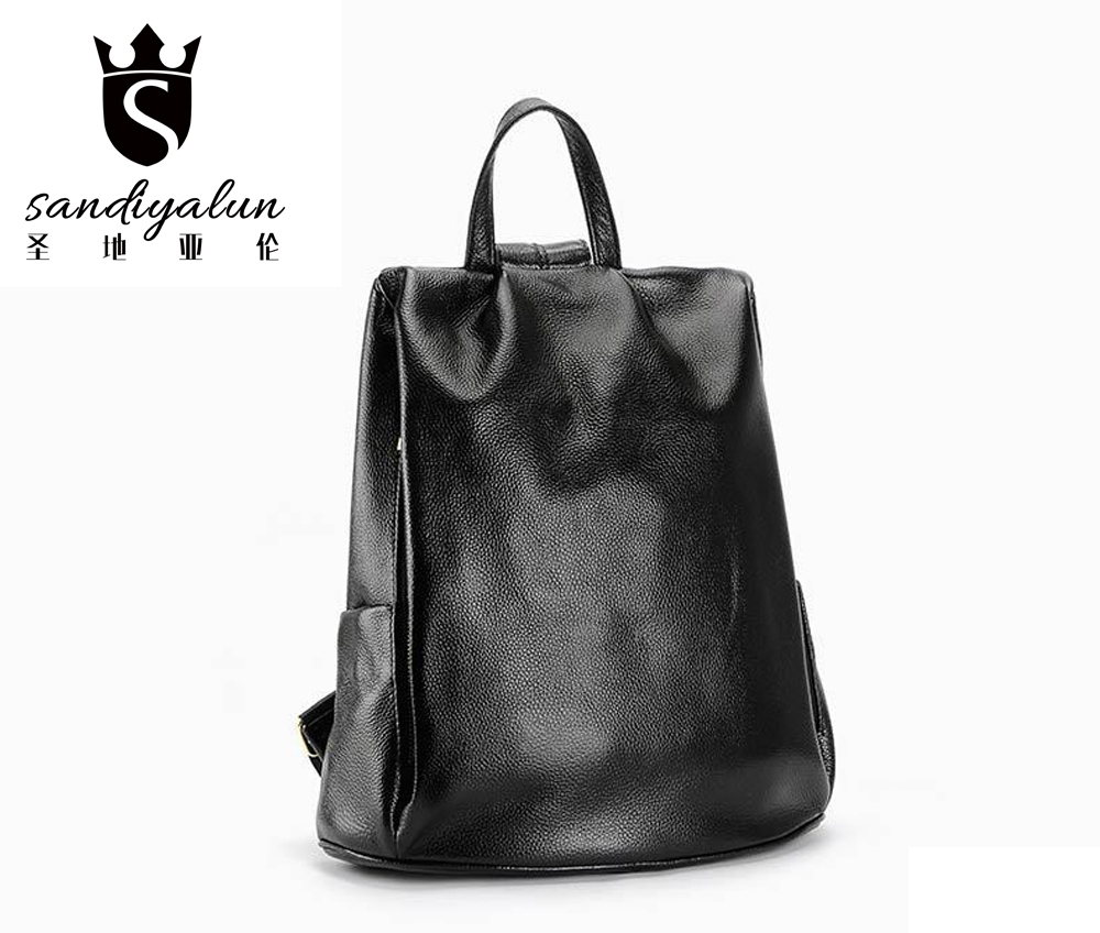 New Women Genuine Leather Backpack Preppy Style bags High Quality Female Shoulder Bags Travel Backbags