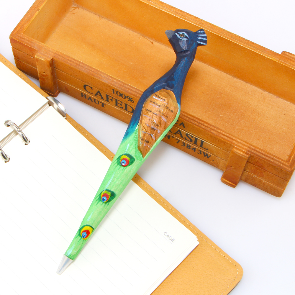 ... Novelty Creative Fashion Wood Peacock Ballpoint Pen And Pen Holder  School Office Supplies Gifts For Kids ...