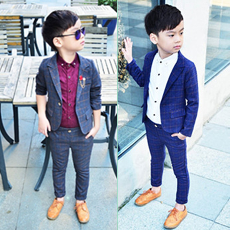 Us 20 23 12 Off Retail One Set Child Blazer Suit Jacket Pant 2pcs Boy Clothing Set 2 10t Wedding Flower Boy Dress Slim Kids Gentle Costume In