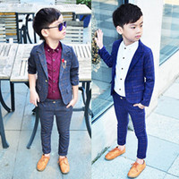 Retail one set Child Blazer Suit Jacket + pant 2pcs boy clothing set 2 10T Wedding flower boy Dress slim Kids Gentle Costume