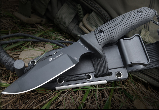 58-60 HRC D2 Stainless steel blade Portable Tactical army Survival camping knife G10 handle hunting knife hand tool set K sheath