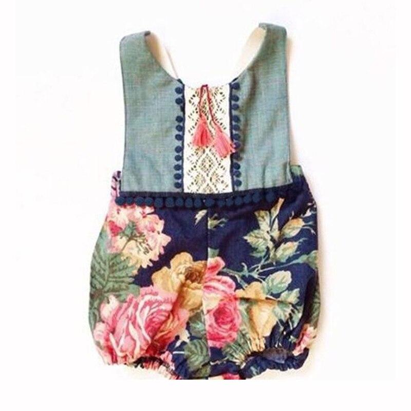 2017 New Summer Floral Baby Romper Girls Clothing Vintage