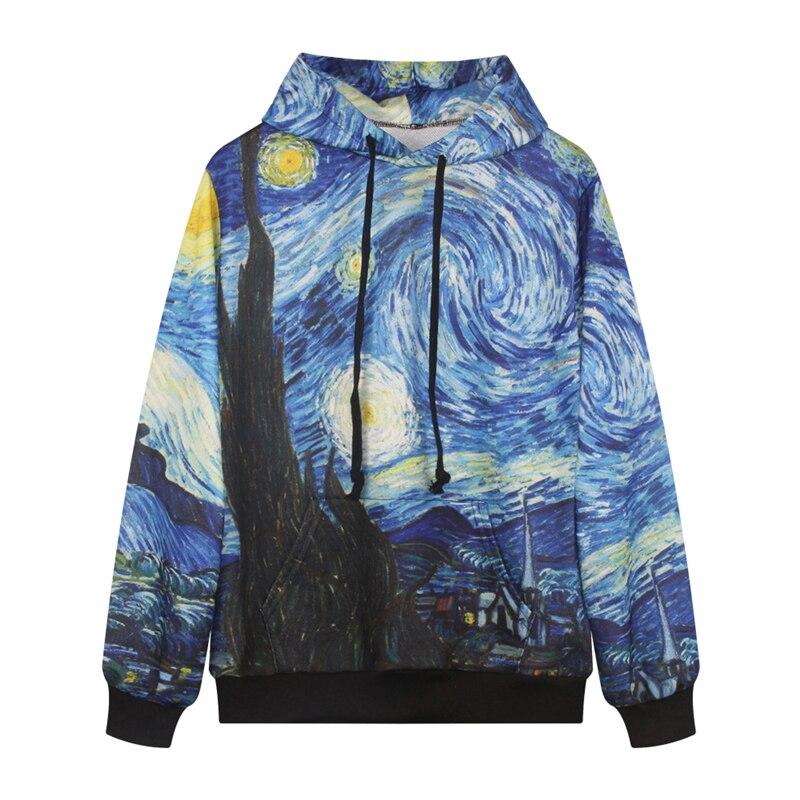 Prix pour Van Gogh La Nuit Étoilée Hoodies Hip Hop Planche À Roulettes Sweat-Shirts Bleu Manches Longues À Capuche Sport Veste Sweat À Capuche Pull FTDMW