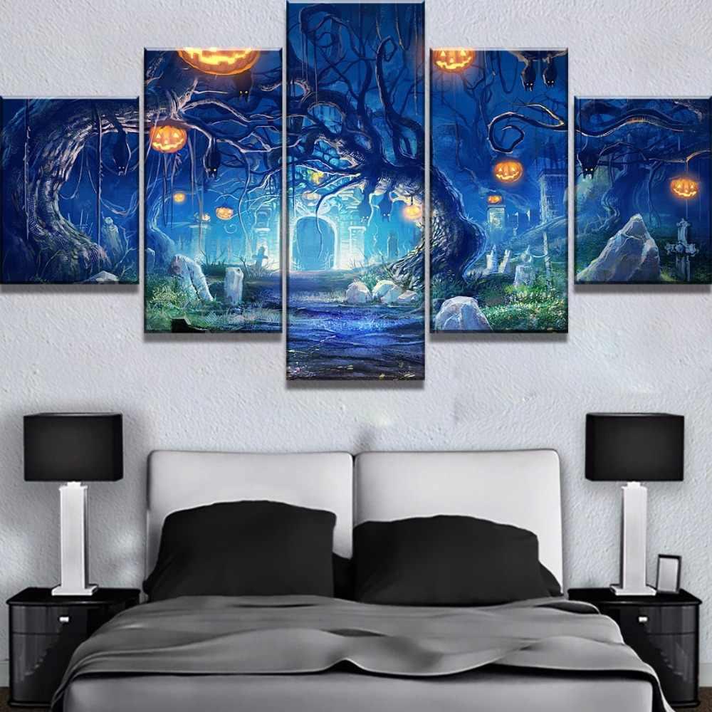 5 ชิ้น HD พิมพ์ขนาดใหญ่ฟักทองฮาโลวีนต้นไม้ Cuadros Decoracion ภาพวาดผ้าใบ Wall Art สำหรับตกแต่งบ้าน Wall Decor