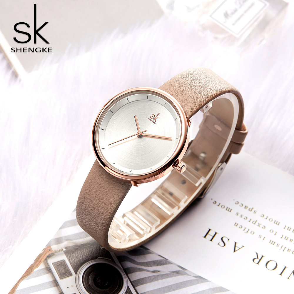 Shengke Women Watches Mixmatch Simple Watch Beige Leather Band Reloj Mujer Classical Dress Watch Women Montre Femme Wholesale
