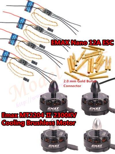 4PCS Emax MT2204 II 2300KV Cooling /MT2204 2300KV Brushless Motor& 4PCS EMAX Nano 12A ESC 2-4S For Quadcopter QAV250 4pcs dx2205 2300kv brushless motor