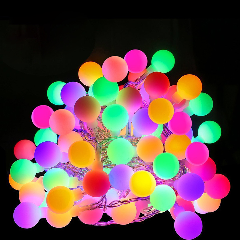 Grnflashing 10M 100LED Ball String Changeable Color 8 Model Fairy String Lights For Christmas Wedding Festival Decoration Lights