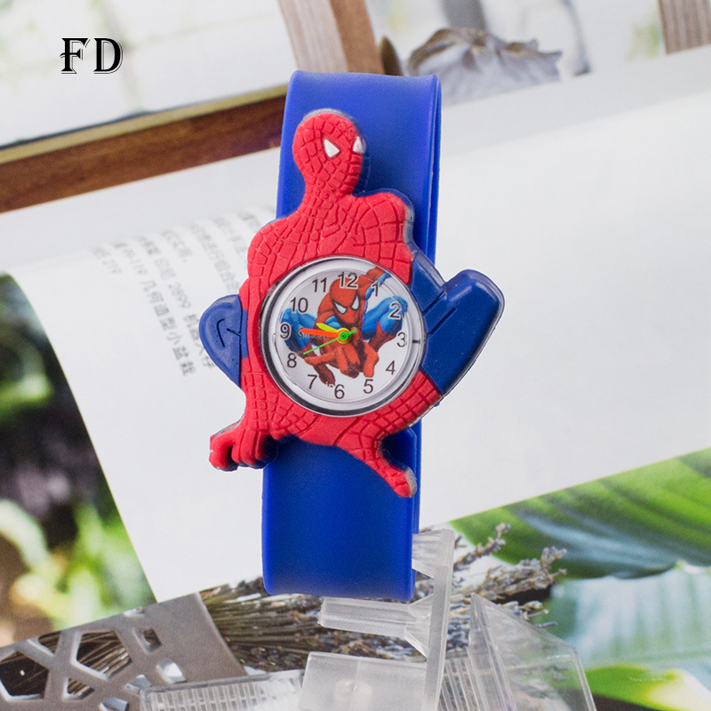 FD Spiderman Children Rubber Sports Watch Casual 3D Cartoon Pattern Boys Girls Kids Wristwatch 2017 Hot Sale Quartz Clock gifts joyrox minions pattern children watch 2017 hot despicable me cartoon leather strap quartz wristwatch boys girls kids clock
