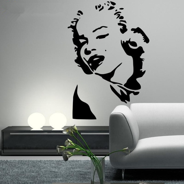 MARILYN MONROE Wall Decal Silhouette Face Head Mural Wall Vinyl Sticker  Outline Wallpaper Living Dining Room Decor Size 76*53cm