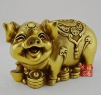 Открытым Светло медный медные украшения свинья безделушки Лаки Фэн шуй украшения зодиака Свинья