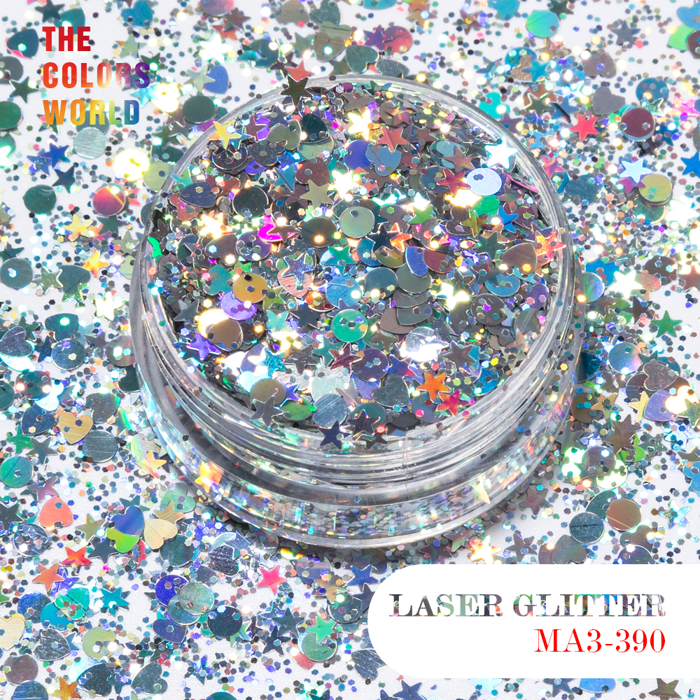 TCT-079 Christmas Glitter Solvent Resistant Holographic Silver Colors Mix shapes And Size Nail Art Glitter Makeup Facepainting
