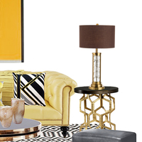 현대 간단한 크리스탈 테이블 램프 침대 옆 침실 거실 호텔 테이블 조명 홈 데코 패브릭 책상 램프 그늘 데스크 라이트