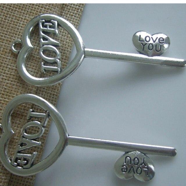 5 stücke Große Antike Silber Ton Herzform Schlüssel Charme Anhänger ...