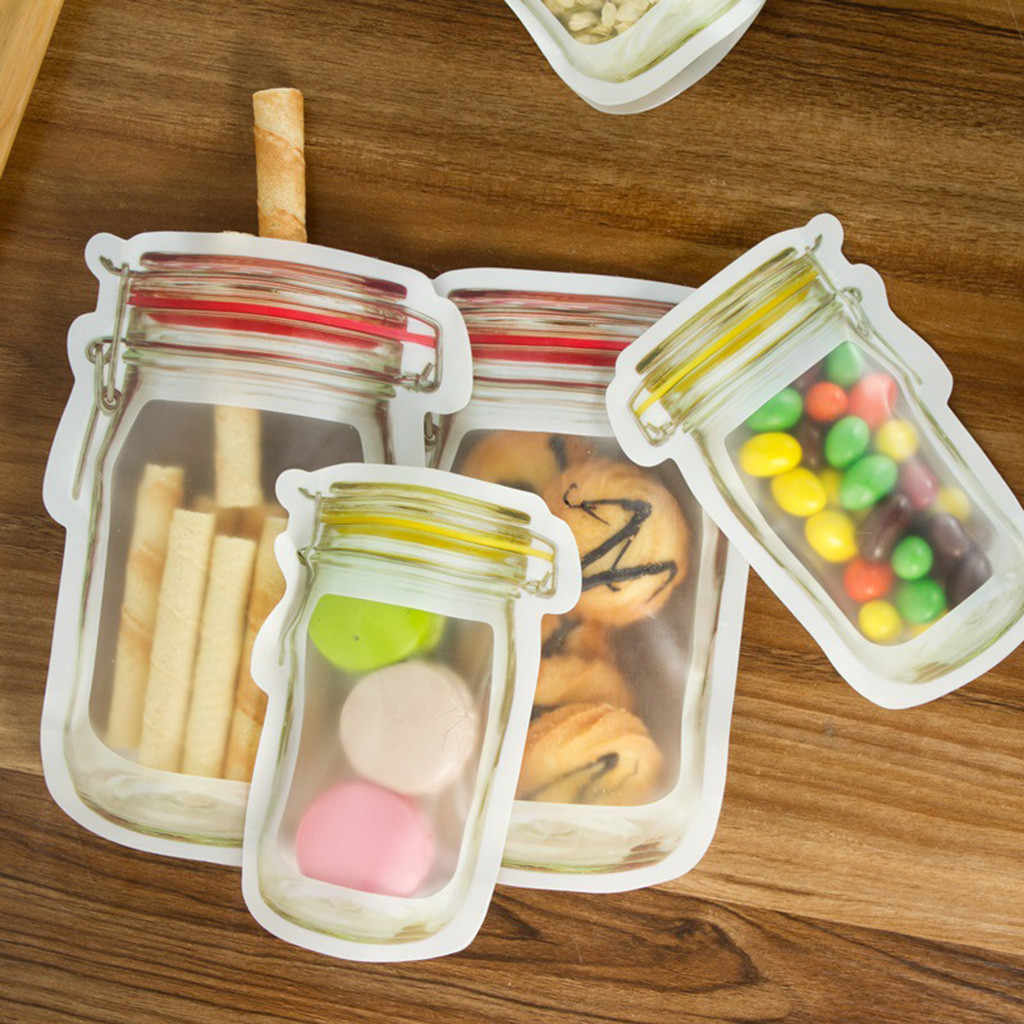 Zipper Bags Reusable Snack Saver Bag Leakproof Food Sandwich Storage Bags for Travel Kids Same Size 3PC