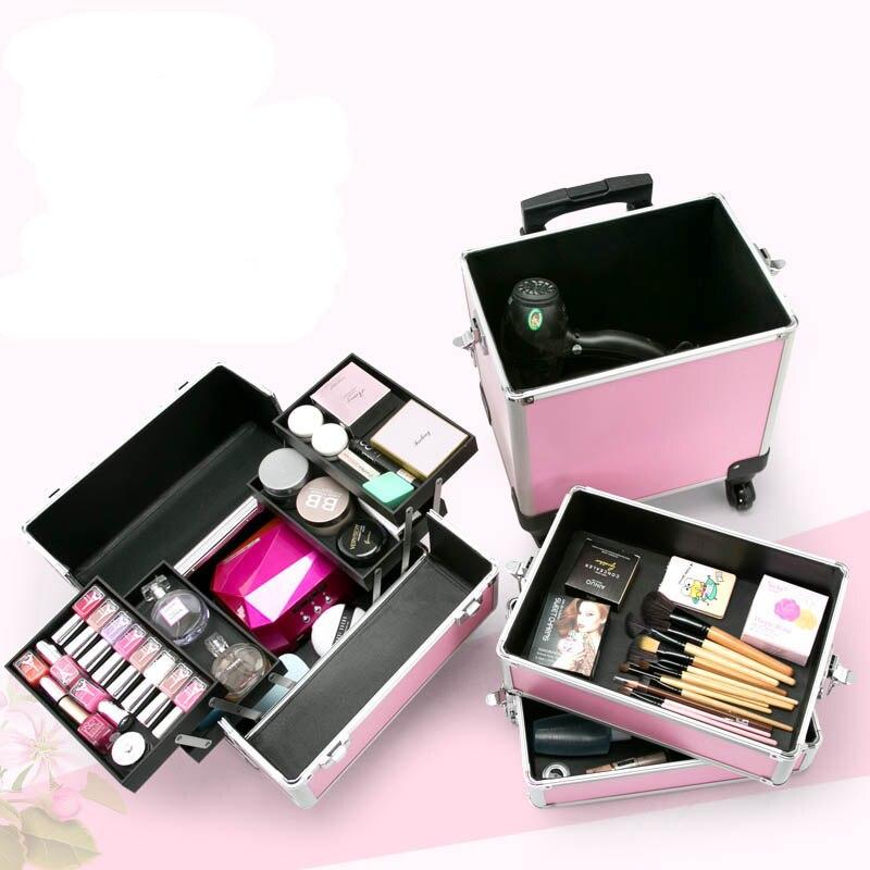 LeTrend 大容量プロ多層多機能美容化粧品ケースローリング荷物スーツケースホイール  グループ上の スーツケース & バッグ からの スーツケース の中 1