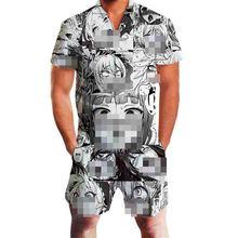 Harajuku Harem Cargo Overalls Summer OnePiece Set Ahegao Floral Print Rompers Men Short Sleeve 3D Gay Party Jumpsuit Playsuit