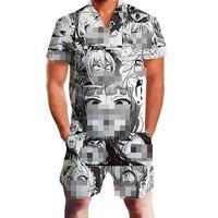 55cd3d031fb7b5 Harajuku Harem Cargo Overalls Summer OnePiece Set Ahegao Floral Print  Rompers Men Short Sleeve 3D Gay