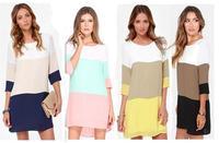 Hot 2017 Women Summer Dress Fashion Female Clothing Casual Brand White Khaki Yellow Color Block Straight