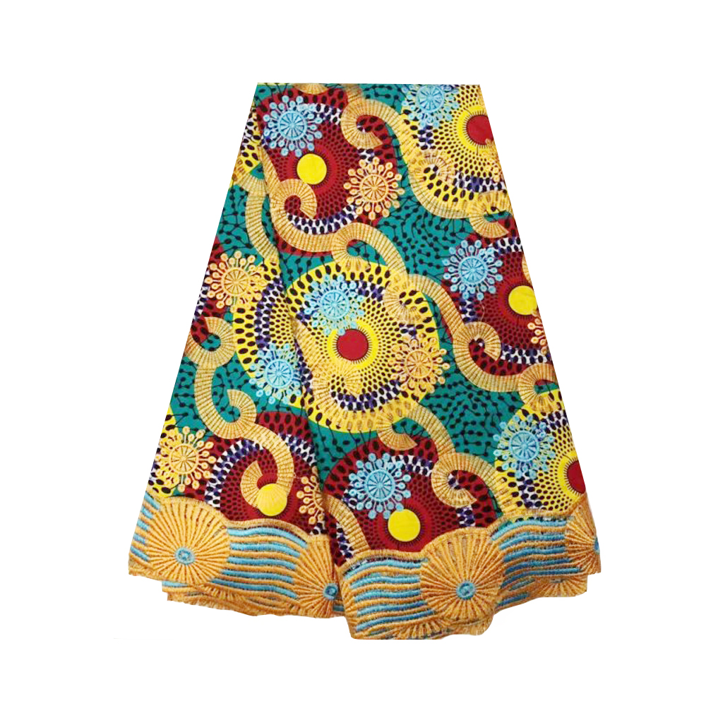 African Wax Fabric Ankara Printing Cotton with Embroidery Rhinestones Organic Cotton Fabric Pagne Super Wax Hollandais for Dress