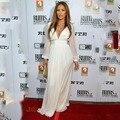 Custom Made Jennifer Lopez 2017 Longa Branca Da Luva V Neck Prom Vestidos Do Oscar Celebridade Vestidos No Tapete Vermelho Vestidos de Noite